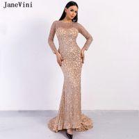 Vestidos de festa Janevini Sparkle Dubai Rosa Gold de Manga Longa Noite 2021 Sereia O Neck Sexy Sexy Saudi Árabe Arábico Vestidos