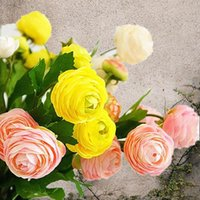 10Pcs Artificial Ranunculus Asiaticus Pfingstrosen Fake Flowers Silk Flores Fleur Artificiales Peony für Hochzeit Hauptdekoration Künstlich Pflanze
