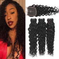 9A Water Wave Brazilian Virgin Human Hair With 4x4 Lace Clos...