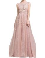 2019 vestidos de fiesta largos A Line Apliques de encaje sin mangas con cinturón Blush Pink Vestidos de noche formales Vestido de fiesta Vestido de fiesta