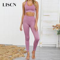 Abiti LISCN 2 sport dei pc senza saldatura Set Yoga Abbigliamento Donna fitness sportivo palestra donna Leggings Reggiseno sportivo viola e pantaloni