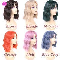 Lihui Breve Blu Grigio parrucca con gli scoppi parrucche sintetiche per le donne Nero / Blu / Verde / Rosa parrucche Perruque Synthetique Femme