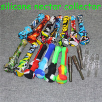 14 мм Силиконовый Nectar Collector Kit Комплект с титановым кварцевым наконечником Cokahs Концентрат Necor Collector Collectors Мини-кремниевые табачные трубы для нефтяного стекла Bong