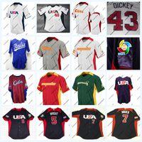 2013 Всемирный бейсбол классическая команда USA Испания Австралия Куба 5 Дэвид Райт 7 Джо Мауэр 40 Cishek 43 Dickey на поле Джерси