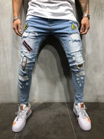S-3XL Mens déchiré Jeans Badge Stretchy Skinny Slim Fit Hip Hop Designer Designer Denim Pants Détruit Pantalon Effiloché De Mode Streetwear