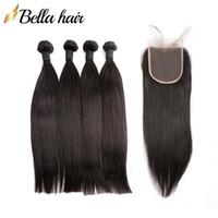 غير المجهزة الهندي الشعر البشري حزم مع الدانتيل إغلاق 4x4 اللون الطبيعي مستقيم عذراء الشعر نسج بيلاهير كامل رئيس 5PCS