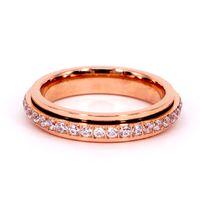 Ronda Hombres Mujeres Anillo Girar Giro Medio anillos de la suerte para cada perro tiene su día caliente marca de moda joyería de oro rosa Anillo giratorio
