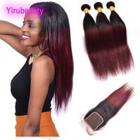 Brésilien Vierge cheveux Mink 3 Bundles Avec 4X4 dentelle fermeture 1B / 99J droite cheveux humains Trames avec fermeture bébé Extensions de cheveux