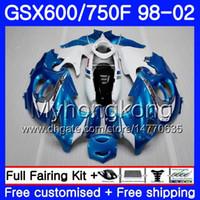 Lichaam voor Suzuki GSXF 750 600 GSXF750 Lichtblauw wit 1998 1999 2000 2001 2002 292hm.62 GSX 600F 750F KATANA GSXF600 98 99 00 01 02 Kuip