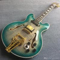 Yüksek kaliteli vücut hollow caz elektro gitar, abanoz gitar klavye elektro gitar, gitar alev akçaağaç üst ve arka, özelleştirilmiş servis