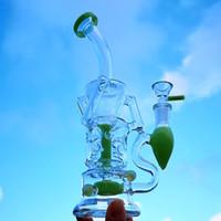 Yeni Fab Yumurta Heady Cam Bong Çift Recycler Yağ damlasını Rig Türbin Perc Su Borusu Pembe Mor Yeşil ile Bowl HR319
