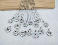 Silber Farbe Runde Micro Pave Kristall Zirkonia 26 Brief Anhänger Charms Halskette Schmuck Machen für Frau NK347