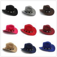 Laine Faux feutre Femme Homme occidental Chapeau de cowboy avec une large Brim Punk Ceinture en cuir Jazz Cap