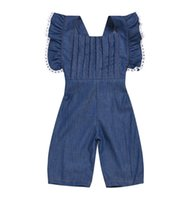 1- 6years Newborn Infant Baby Girls Denim blue Sleeveless Rom...