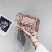 Paquet d'épaule de designer de marque Femmes nouvelle Wild Trend Lettre Jelly Messenger bag Fashion Luxury Metal Chain Handbags