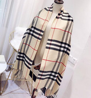 2018 autumn and winter new warm tassel scarf wholesale classic brand cashmere plaid scarf