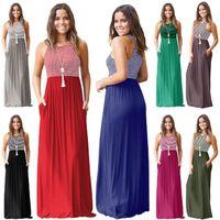스트라이프 민소매 맥시 드레스 8 색 여성 탱크 드레스 Boho 여름 긴 포켓 비치 Sundress O-OA6704