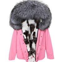 Серебряный лисий мех отделка maomaokong Марка белый черный лисий мех подкладка розовый мини куртки снег куртка женщин пальто