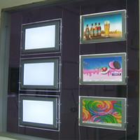 (3Units / Pack) A2 LED Agence immobilière de l'agence immobilière Shop Affichages de la machine à éclairage, cadre de la fenêtre de fenêtre rétro-éclairé - Affichage double côté