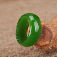[Hxc] Mujer Natural Green Hetian Jade Anillo Chino Jadeite Amuleto Moda Charm Joyería Tallado Mano Regalos Para Mujeres Hombres