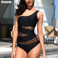 Riseado One Shoulder One Piece Swimsuit 2020 Sexy Swimwear Women Bandeau Beach Wear Mesh Swim Suits Black Dot Beachwear