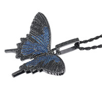 Iced Out Male Animal Big Butterfly Pendant Necklace Silver B...