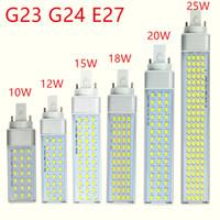 G23 G24 E27 LED Ampüller 10W 12W 15W 18W 20W 25W SMD5730 Işıklar 85-265V Spotlight 180 Derece Yatay Tak Işık led