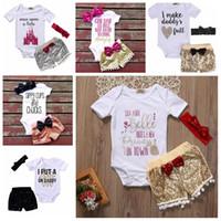 Kız bebekler Rompers Suit Çocuklar INS Pullu Şort ilmek Kafa Moda Çocuk Harf tişört Butik Şort Saç Bandı YFA934 yazdır ayarlar