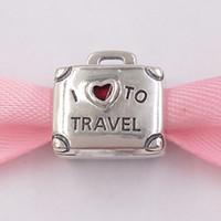 Authentische 925 Sterling Silber Perlen 2013 Ich liebe es zu reisen Charme Charms passt europäischen Pandora-Stil Schmuck Armbänder Halskette 35