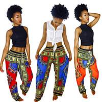 Женщины Широкие Брюки Ноги Богемия Цифровые Печатные Свободные Брюки Лето Африканский Винтаж Анкара Брюки Мода Леди Карманные Брюки YFA1139