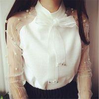 Camicie di chiffon di moda Camicia a maniche lunghe Elegante fiocco di organza Camicetta di perle bianca Camicia di moda casual Camicette da donna Top Blusas Femininas