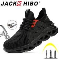 JackShibo Trabalho Sapatos de Segurança para Homens Botas respiráveis de Verão Trabalhando Aço Anti-Smashing Construção de Segurança Tênis Y200506