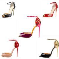 Venta de la nueva inferiores rojos de las mujeres manera clava los altos talones del vestido Peep Toes Zapatos del alto talón sandalias tachonado claveteado bombea los zapatos casuales