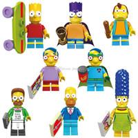 Новый Marge Simpson Строительные блоки Минифиги Игрушки Toys Катун Действия Фигурки Куклы 5см Bart Batman Marge Pronton Milhhouse Homer Детские игрушки