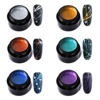 Nail Spinne Gel Set, Zugleine Nails Art Silk 6 PC-Linie Malerei Soak Drahtziehen Elastizität Off Design-Lack Long Lasting