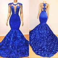 Sexy Royal Blue Mermaid Prom Dresses Sheer Neck Sleeveless Spitze Applikationen Perlen Rose Blumen Abendkleid Party Pageant