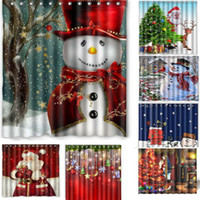후크 크리스마스 눈사람 산타 커튼 방수 커튼 1 개 세련된 메리 크리스마스 욕실 샤워