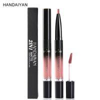 Handaiyan Marca Kit de labios 2 en 1 Lápiz labial líquido mate Tinte Maquillaje Cosméticos Doble delineador de labios de larga duración Brillo de labios Nude