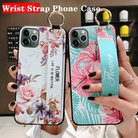 Dragonne Case Support de téléphone pour l'iphone X 11 Pro Max pour iPhone 7 8 6 6s, plus Xs max XR Flower Soft TPU Cover