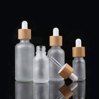 Bambu Kap Buzlu Cam Damlalık Şişe Sıvı Reaktifi Pipet Şişeler Göz Damlalık Aromaterapi Uçucu Yağlar Parfüm Şişeleri