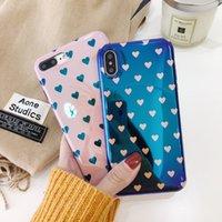 아이폰 6 6S 7 8 플러스 케이스에 대 한 부드러운 블루 레이 전화 케이스 아이폰 X 케이스에 대 한 패션 레트로 사랑의 하트 커플 커버