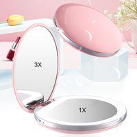 USB Şarjlı Mini LED Makyaj Ayna Taşınabilir Kompakt Cep Ayna 3 seviyeleri Parlaklık Işık El 3X büyütülmesi
