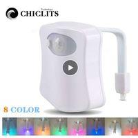 LED Akıllı Tuvalet Gece Lambası Su Geçirmez WC Closestool Koltuk Işıkları PIR Hareket Sensörü Oto Lambası Aktif Kaide Tuvalet Işıkları