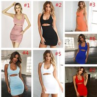 Sommer-Frauen-Kleid ärmellos Rüschen Verband kleidet Bodycon einteiliger Rock Fest reizvollen Entwurfs-Kleid-Nachtclub-Kleid Outfits 7 Farben IN