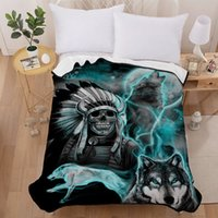 Blankets for Beds 3D Wolf and Skull Pattern Super Soft Short...