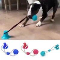 Empuje perro interactivo ventosa Diente TPR Juguetes Bola elástico perro Cuerdas de limpieza de mascar Juego IQ tratar los suministros Juguetes perrito del animal doméstico