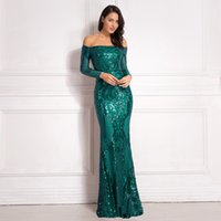 O verde brilhante lantejoulas acolchoados maxi vestidos Off the Shoulder de Slash Neck Forro Party Dress Bodycon Stretchy elegante vestido Maxi ouro LY191116