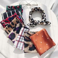 50 * 50 cm Mode Polka Dot Leopard Soie Echarpe DIY Nouveaux Styles Femmes Tête Cou Satin Cheveux Cravates Bandes Petit Carré Foulard Foulard