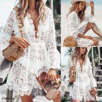 Yeni 2020 Yaz Kadın Plaj Bikini Kapak Ups Mayo Çiçek Dantel Hollow Tığ Mayolu Cover-Ups Mayo Beachwear Tunik Plaj Elbise