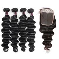 Good 8A Pelo brasileño Extensiones de cabello suelto de profundidad 4bundas con cierre de encaje 4x4 Extensiones de tejido de pelo humano profundas sueltas Precio al por mayor al por mayor